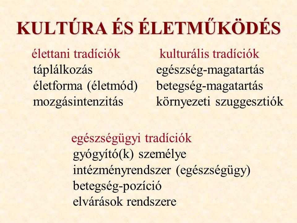 KULTÚRA ÉS ÉLETMŰKÖDÉS egészségügyi tradíciók gyógyító(k) személye intézményrendszer (egészségügy) betegség-pozíció elvárások rendszere kulturális tra