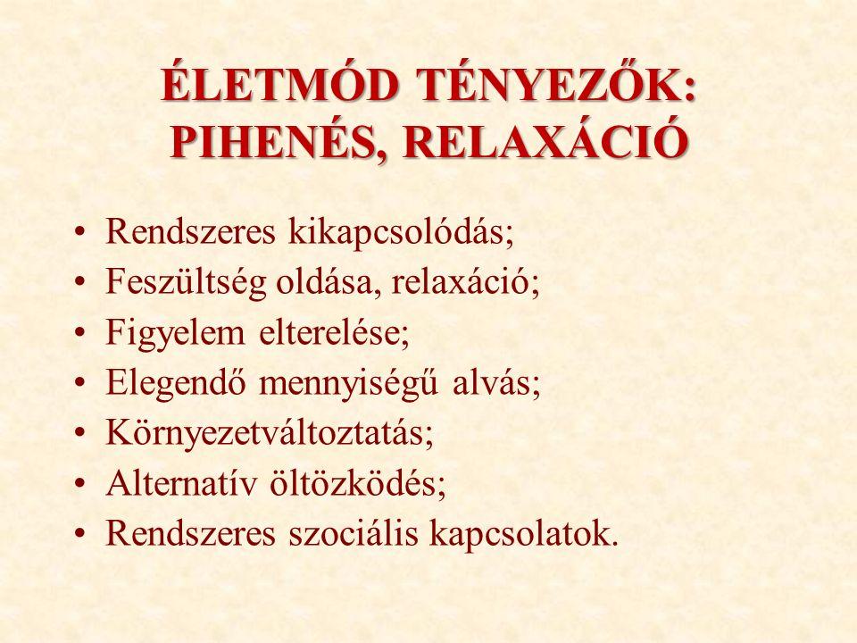 ÉLETMÓD TÉNYEZŐK: PIHENÉS, RELAXÁCIÓ Rendszeres kikapcsolódás; Feszültség oldása, relaxáció; Figyelem elterelése; Elegendő mennyiségű alvás; Környezet