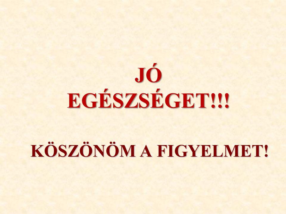 KÖSZÖNÖM A FIGYELMET! JÓ EGÉSZSÉGET!!!