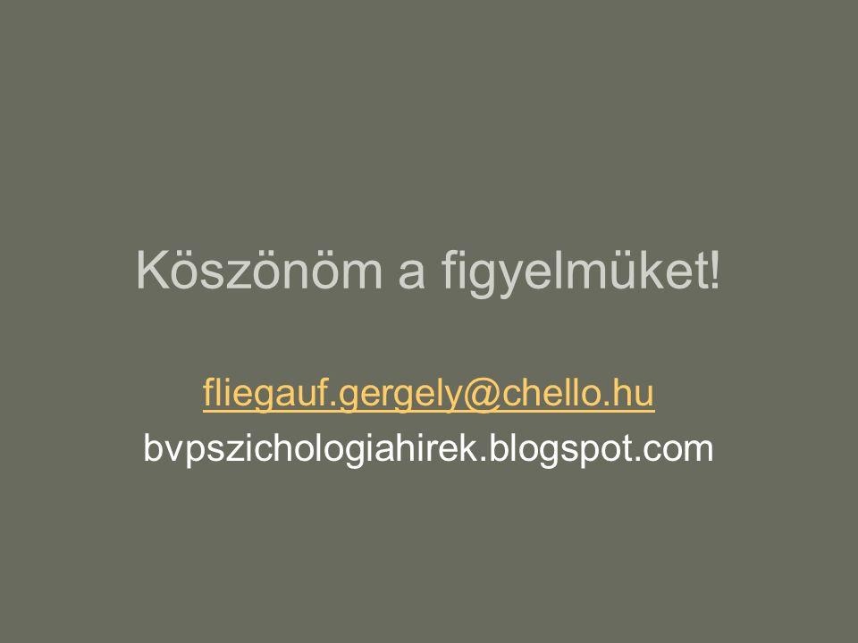 Köszönöm a figyelmüket! fliegauf.gergely@chello.hu bvpszichologiahirek.blogspot.com
