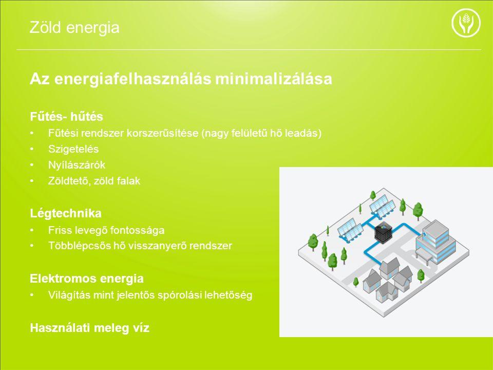 Az energiafelhasználás minimalizálása Fűtés- hűtés Fűtési rendszer korszerűsítése (nagy felületű hő leadás) Szigetelés Nyílászárók Zöldtető, zöld fala