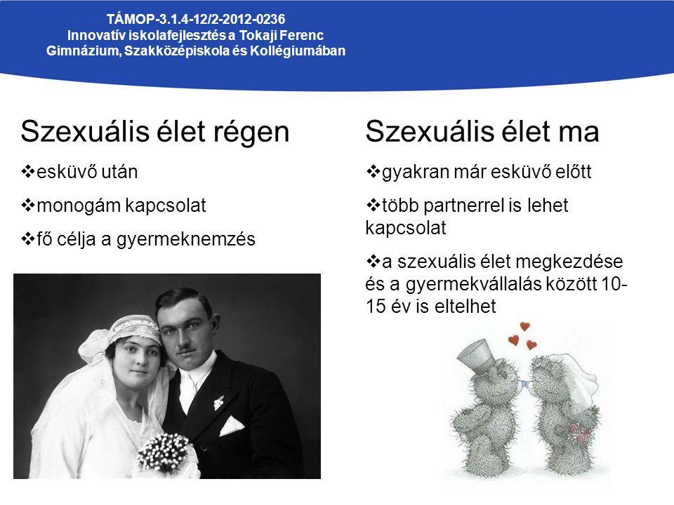 TÁMOP-3.1.4-12/2-2012-0236 Innovatív iskolafejlesztés a Tokaji Ferenc Gimnázium, Szakközépiskola és Kollégiumában Szexuális élet régen  esküvő után  monogám kapcsolat  fő célja a gyermeknemzés Szexuális élet ma  gyakran már esküvő előtt  több partnerrel is lehet kapcsolat  a szexuális élet megkezdése és a gyermekvállalás között 10- 15 év is eltelhet