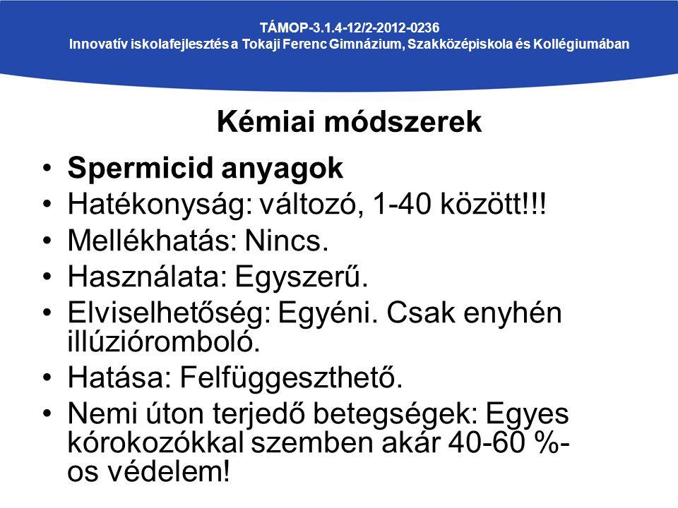 TÁMOP-3.1.4-12/2-2012-0236 Innovatív iskolafejlesztés a Tokaji Ferenc Gimnázium, Szakközépiskola és Kollégiumában Spermicid anyagok Hatékonyság: változó, 1-40 között!!.