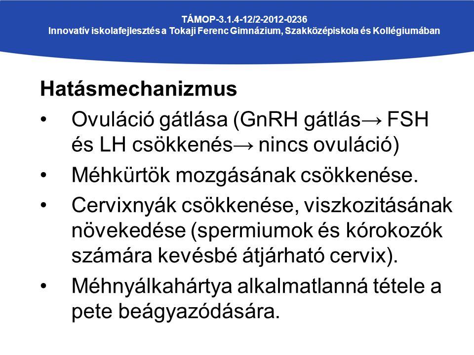 TÁMOP-3.1.4-12/2-2012-0236 Innovatív iskolafejlesztés a Tokaji Ferenc Gimnázium, Szakközépiskola és Kollégiumában Hatásmechanizmus Ovuláció gátlása (G