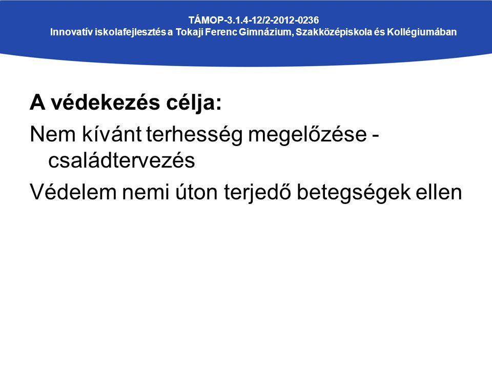 A védekezés célja: Nem kívánt terhesség megelőzése - családtervezés Védelem nemi úton terjedő betegségek ellen TÁMOP-3.1.4-12/2-2012-0236 Innovatív iskolafejlesztés a Tokaji Ferenc Gimnázium, Szakközépiskola és Kollégiumában