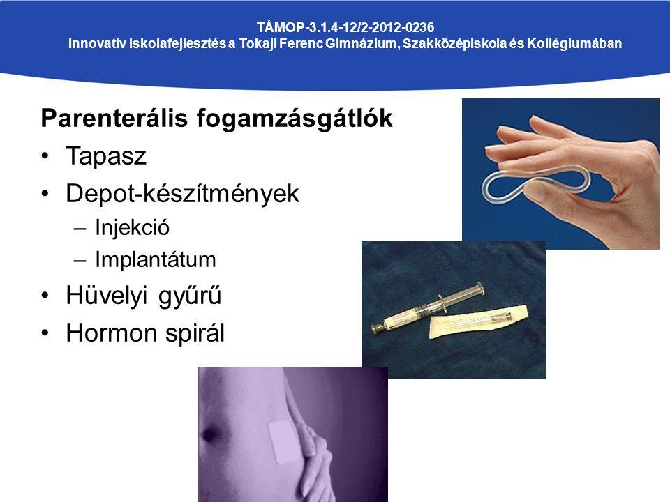 TÁMOP-3.1.4-12/2-2012-0236 Innovatív iskolafejlesztés a Tokaji Ferenc Gimnázium, Szakközépiskola és Kollégiumában Parenterális fogamzásgátlók Tapasz Depot-készítmények –Injekció –Implantátum Hüvelyi gyűrű Hormon spirál