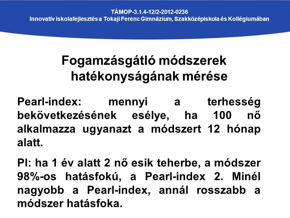 Fogamzásgátló módszerek hatékonyságának mérése TÁMOP-3.1.4-12/2-2012-0236 Innovatív iskolafejlesztés a Tokaji Ferenc Gimnázium, Szakközépiskola és Kollégiumában Pearl-index: mennyi a terhesség bekövetkezésének esélye, ha 100 nő alkalmazza ugyanazt a módszert 12 hónap alatt.