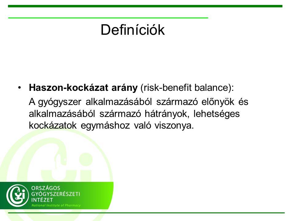 Definíciók Haszon-kockázat arány (risk-benefit balance): A gyógyszer alkalmazásából származó előnyök és alkalmazásából származó hátrányok, lehetséges kockázatok egymáshoz való viszonya.