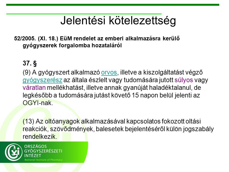 Jelentési kötelezettség 52/2005. (XI.
