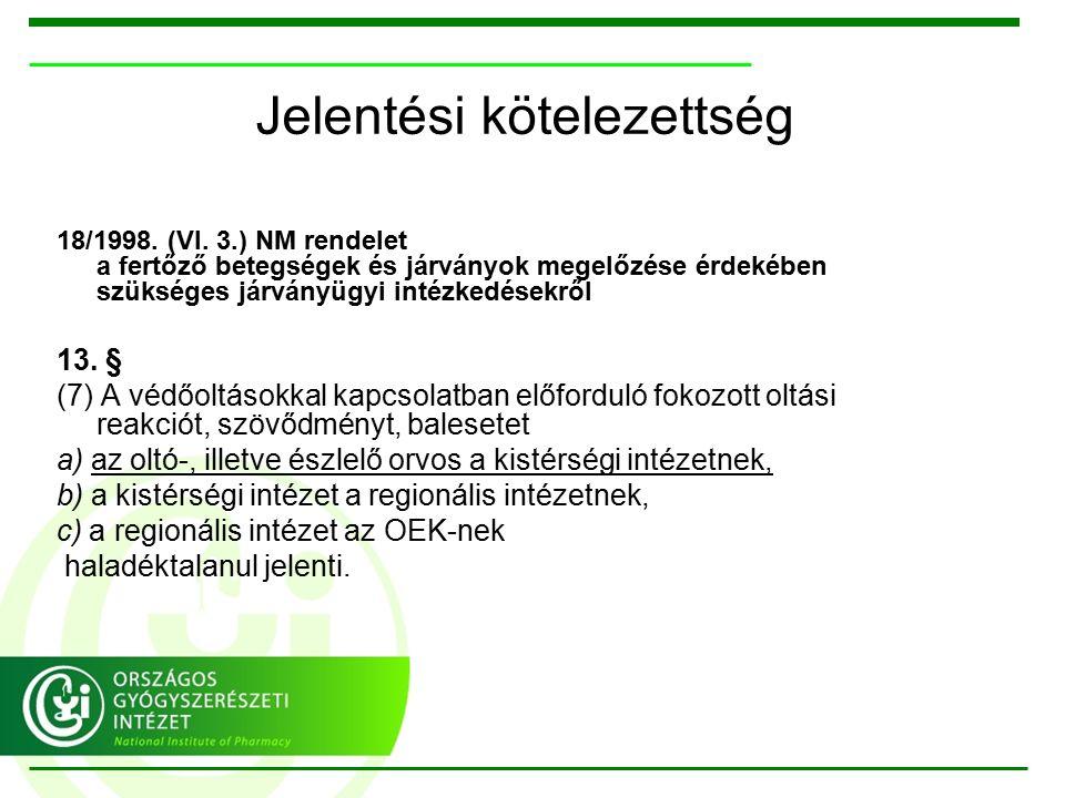 Jelentési kötelezettség 18/1998. (VI.