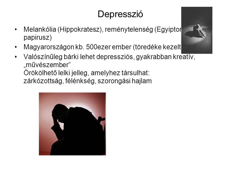 """Depresszió Tünetei: 1.Rossz hangulat – nem szomorúság, inkább üres fájdalom, érzéketlenség, örömképtelenség 2.Érdektelenség – a környezet iránt 3.Gondolkodási zavar – döntésképtelenség, gyötrő félelmek elképzelt kudarcoktól, képtelen koncentrálni (látja a betűket, de nem tudja elolvasni) 4.Testi tünetek – étvágytalanság, álmatlanság, bénult fáradtság, szexuális vágy csökkenése 5.Öngyilkossági gondolatok – mindenért magát hibáztatja, öreg csúnya, felesleges, tehetetlen – """"minek élek? Nem bebeszéli magának, nem elhagyja magát!!."""