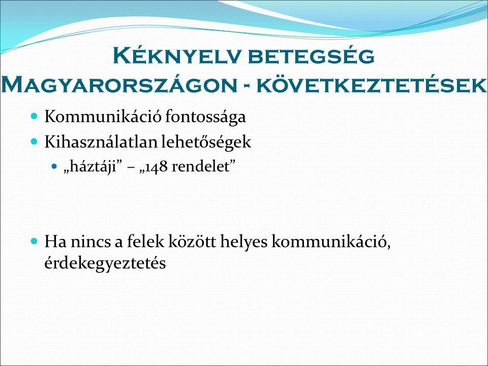 """Kéknyelv betegség Magyarországon - következtetések Kommunikáció fontossága Kihasználatlan lehetőségek """"háztáji – """"148 rendelet Ha nincs a felek között helyes kommunikáció, érdekegyeztetés"""