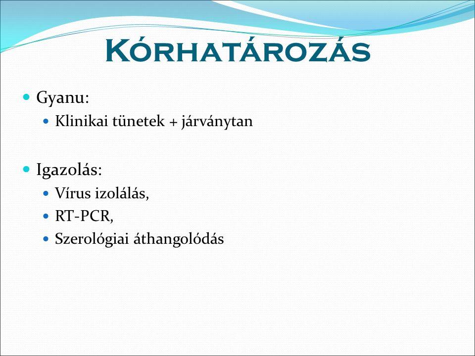 Kórhatározás Gyanu: Klinikai tünetek + járványtan Igazolás: Vírus izolálás, RT-PCR, Szerológiai áthangolódás