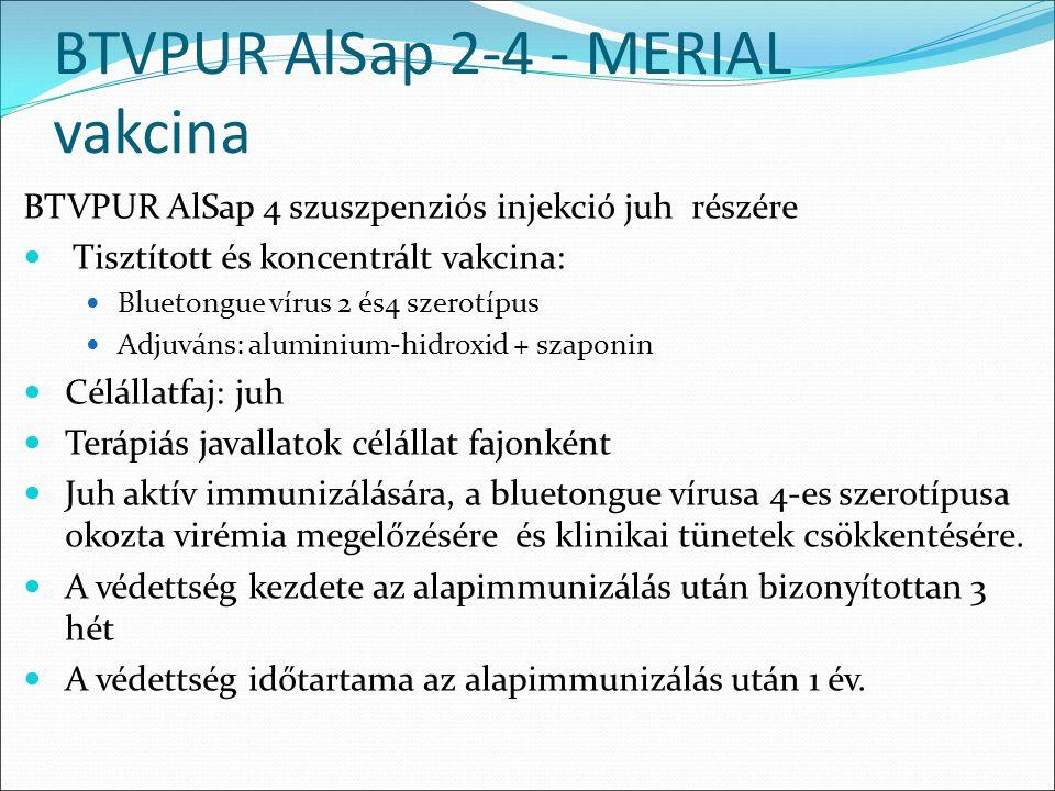 BTVPUR AlSap 2-4 - MERIAL vakcina BTVPUR AlSap 4 szuszpenziós injekció juh részére Tisztított és koncentrált vakcina: Bluetongue vírus 2 és4 szerotípus Adjuváns: aluminium-hidroxid + szaponin Célállatfaj: juh Terápiás javallatok célállat fajonként Juh aktív immunizálására, a bluetongue vírusa 4-es szerotípusa okozta virémia megelőzésére és klinikai tünetek csökkentésére.