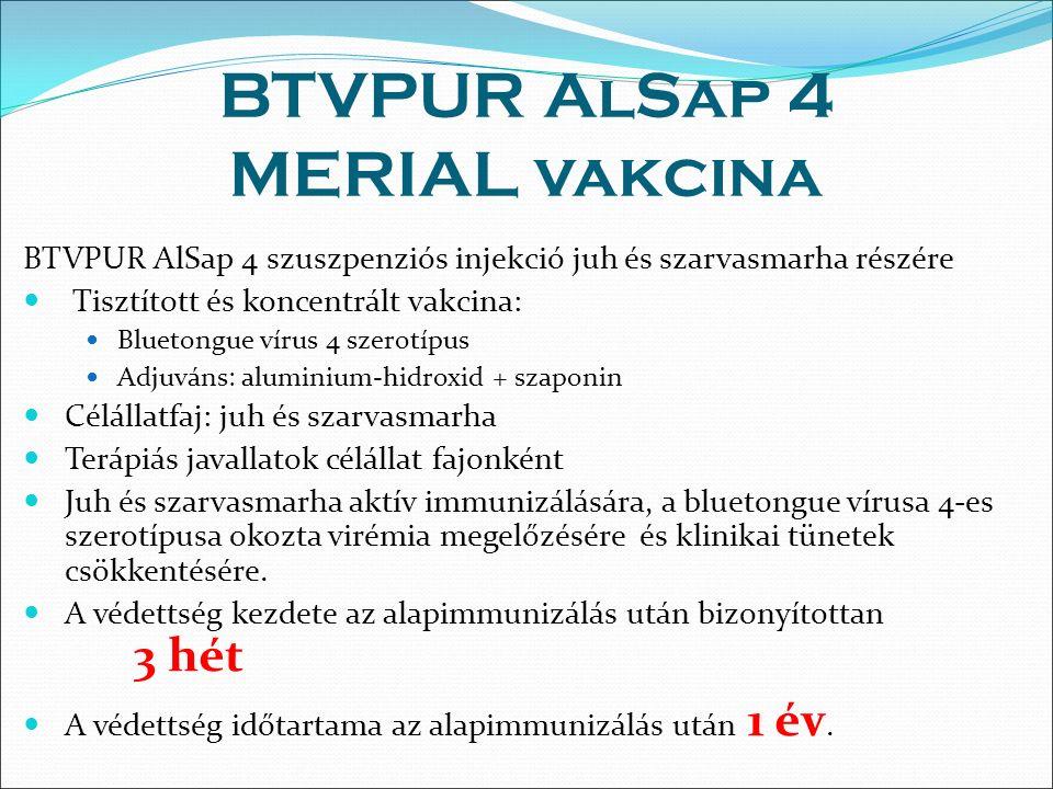 BTVPUR AlSap 4 MERIAL vakcina BTVPUR AlSap 4 szuszpenziós injekció juh és szarvasmarha részére Tisztított és koncentrált vakcina: Bluetongue vírus 4 szerotípus Adjuváns: aluminium-hidroxid + szaponin Célállatfaj: juh és szarvasmarha Terápiás javallatok célállat fajonként Juh és szarvasmarha aktív immunizálására, a bluetongue vírusa 4-es szerotípusa okozta virémia megelőzésére és klinikai tünetek csökkentésére.