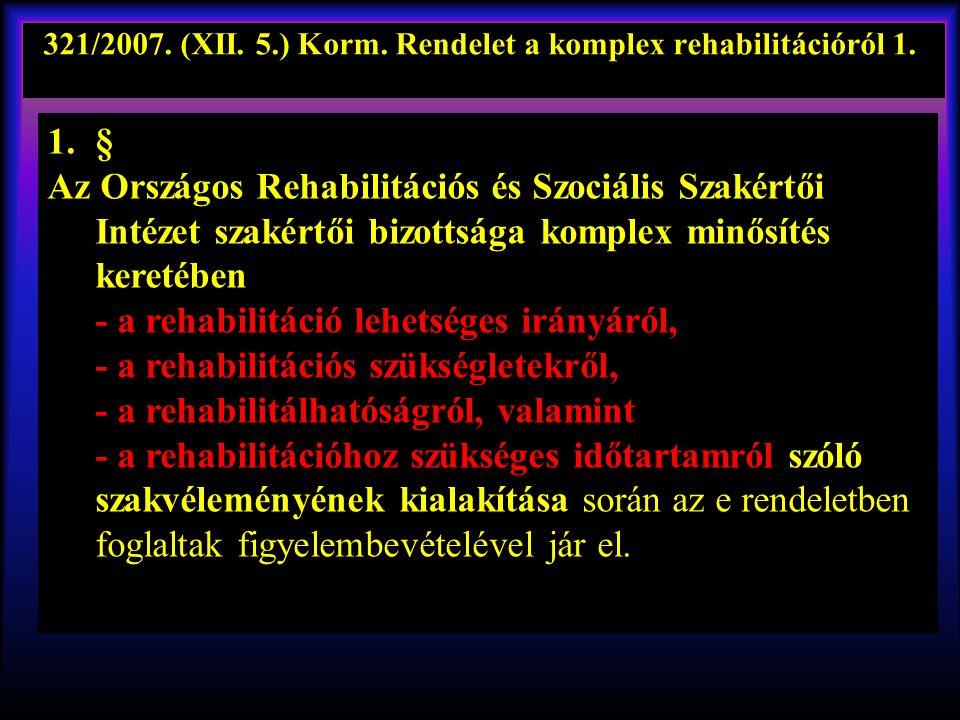 321/2007.(XII. 5.) Korm. Rendelet a komplex rehabilitációról 1..