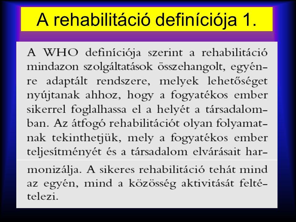 egészségi állapot (betegség, rendellenesség) a szervezet felépítése és tevékenység részvétel funkciói (akadályozottság) (korlátozottság) (károsodás) környezeti személyestényezők kontextuális tényezők Az emberi lét meghatározó elemei