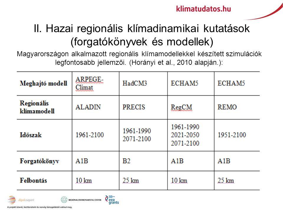 II. Hazai regionális klímadinamikai kutatások (forgatókönyvek és modellek) Magyarországon alkalmazott regionális klímamodellekkel készített szimuláció