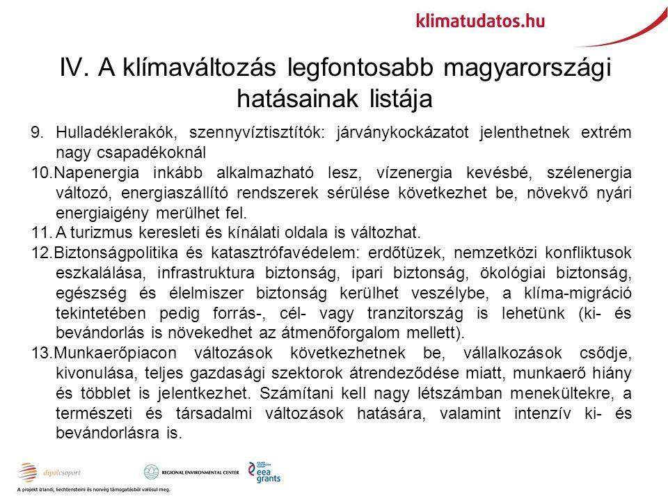 IV. A klímaváltozás legfontosabb magyarországi hatásainak listája 9.
