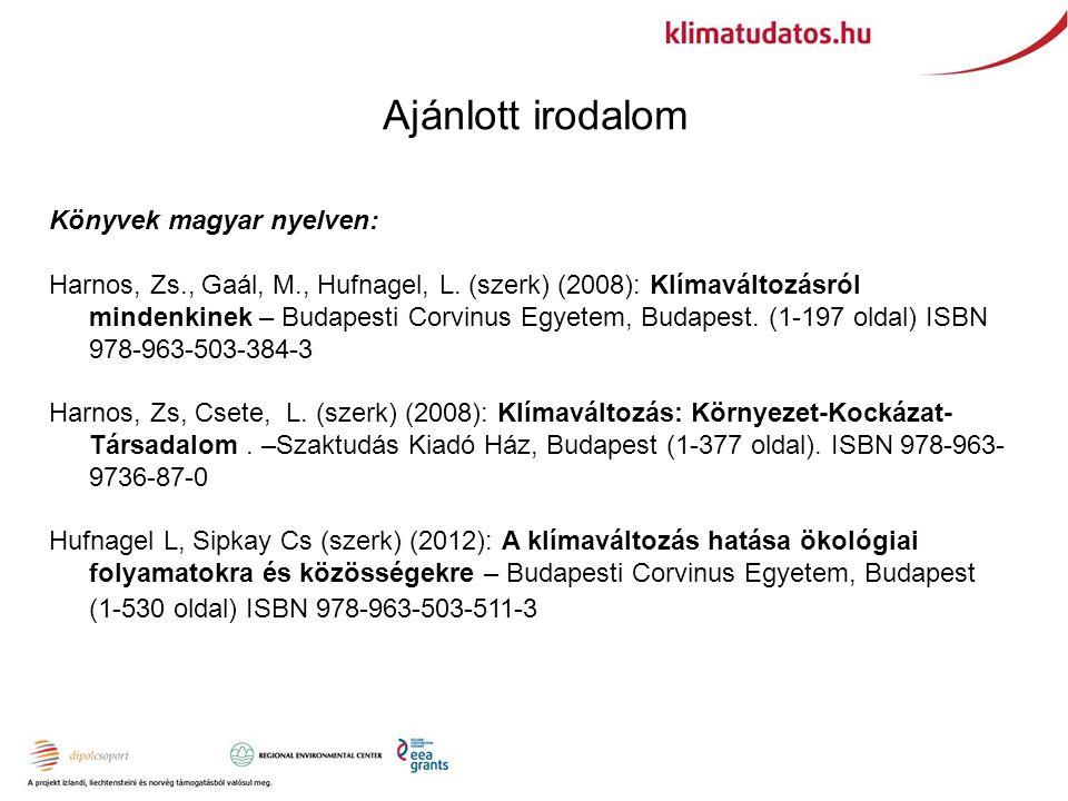 Ajánlott irodalom Könyvek magyar nyelven: Harnos, Zs., Gaál, M., Hufnagel, L.