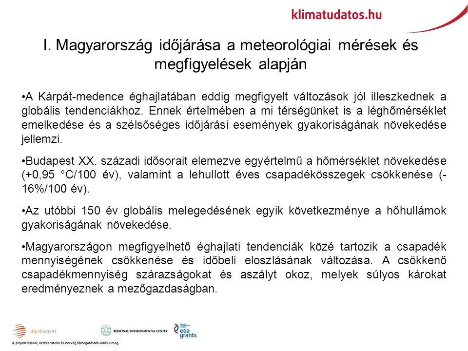 I. Magyarország időjárása a meteorológiai mérések és megfigyelések alapján A Kárpát-medence éghajlatában eddig megfigyelt változások jól illeszkednek