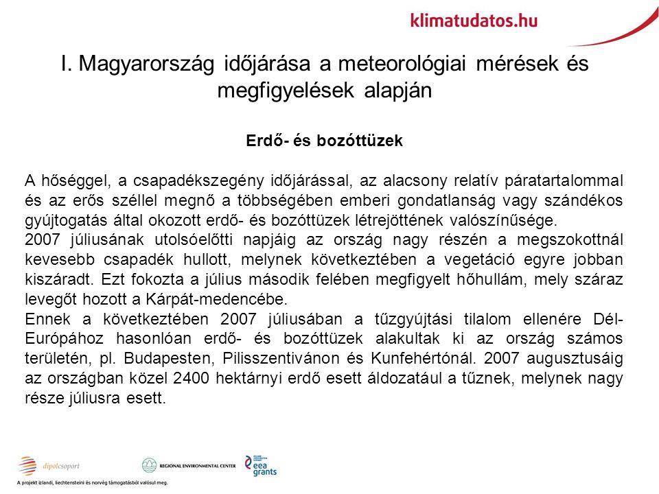 I. Magyarország időjárása a meteorológiai mérések és megfigyelések alapján Erdő- és bozóttüzek A hőséggel, a csapadékszegény időjárással, az alacsony