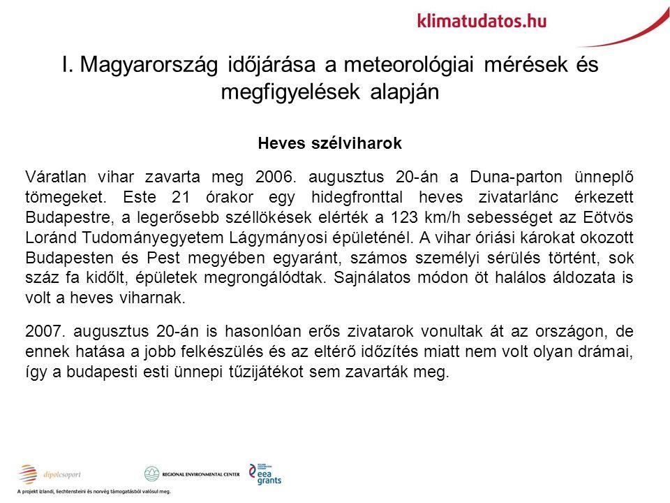 I. Magyarország időjárása a meteorológiai mérések és megfigyelések alapján Heves szélviharok Váratlan vihar zavarta meg 2006. augusztus 20-án a Duna-p