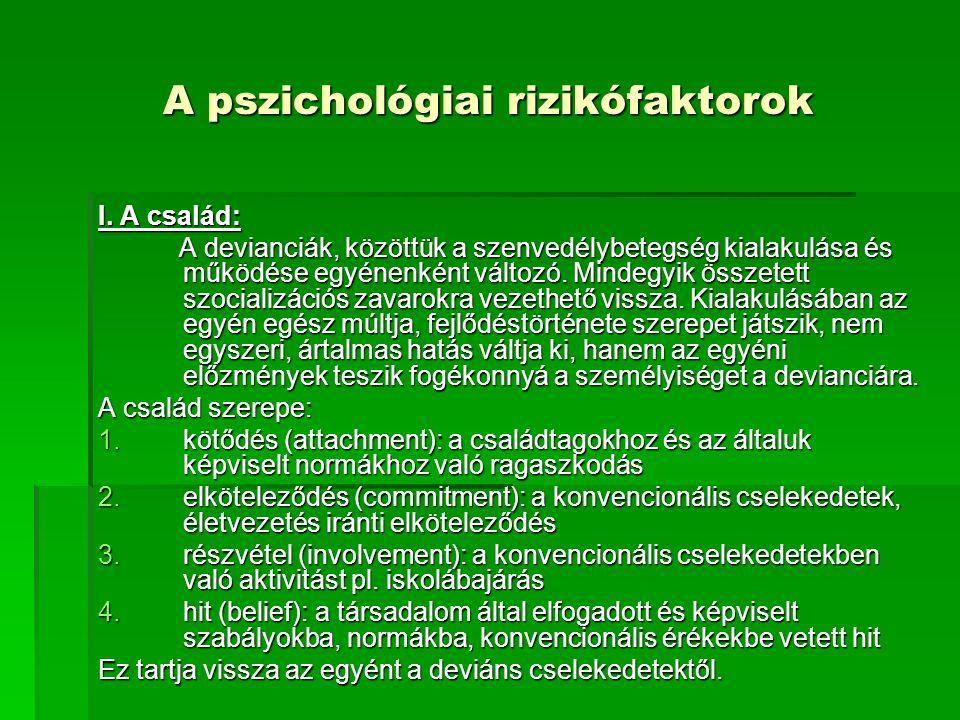 A pszichológiai rizikófaktorok I.