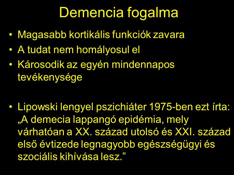 """Demencia fogalma Magasabb kortikális funkciók zavara A tudat nem homályosul el Károsodik az egyén mindennapos tevékenysége Lipowski lengyel pszichiáter 1975-ben ezt írta: """"A demecia lappangó epidémia, mely várhatóan a XX."""