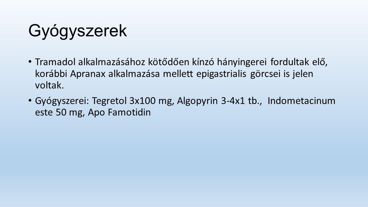Gyógyszerek Tramadol alkalmazásához kötődően kínzó hányingerei fordultak elő, korábbi Apranax alkalmazása mellett epigastrialis görcsei is jelen voltak.