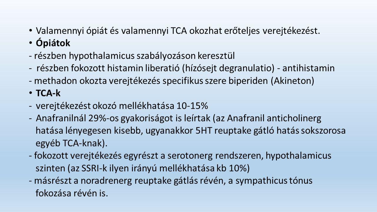 Valamennyi ópiát és valamennyi TCA okozhat erőteljes verejtékezést.