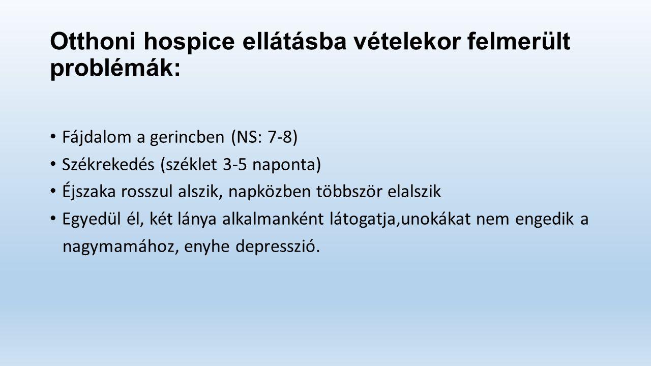 Otthoni hospice ellátásba vételekor felmerült problémák: Fájdalom a gerincben (NS: 7-8) Székrekedés (széklet 3-5 naponta) Éjszaka rosszul alszik, napközben többször elalszik Egyedül él, két lánya alkalmanként látogatja,unokákat nem engedik a nagymamához, enyhe depresszió.