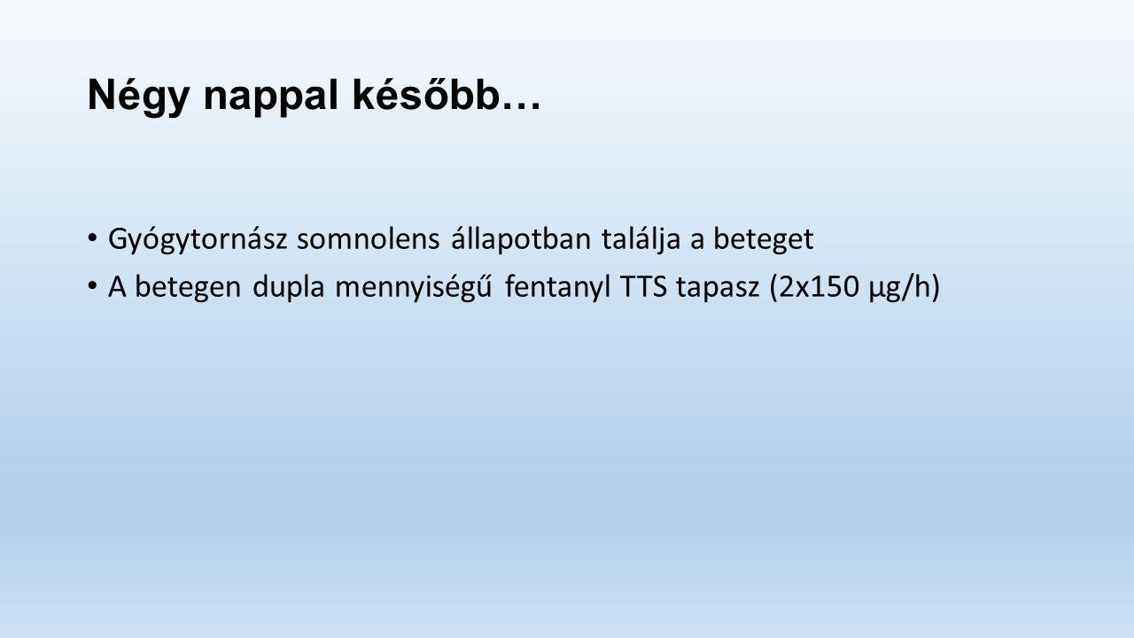 Négy nappal később… Gyógytornász somnolens állapotban találja a beteget A betegen dupla mennyiségű fentanyl TTS tapasz (2x150 μg/h)
