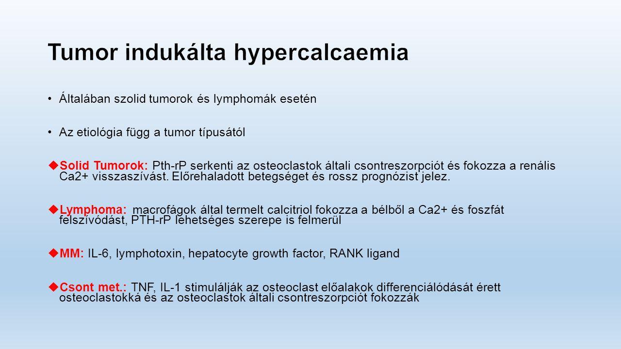 Általában szolid tumorok és lymphomák esetén Az etiológia függ a tumor típusától  Solid Tumorok: Pth-rP serkenti az osteoclastok általi csontreszorpciót és fokozza a renális Ca2+ visszaszívást.