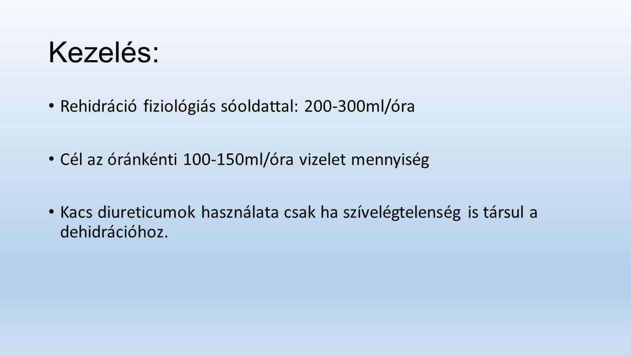 Kezelés: Rehidráció fiziológiás sóoldattal: 200-300ml/óra Cél az óránkénti 100-150ml/óra vizelet mennyiség Kacs diureticumok használata csak ha szívelégtelenség is társul a dehidrációhoz.