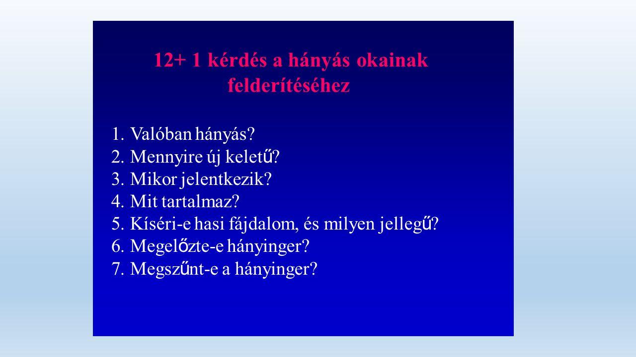12+ 1 kérdés a hányás okainak felderítéséhez 1.Valóban hányás.