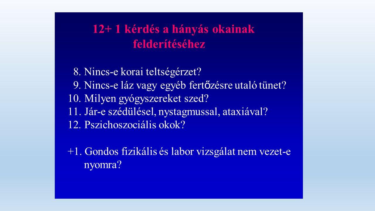 12+ 1 kérdés a hányás okainak felderítéséhez 8.Nincs-e korai teltségérzet.