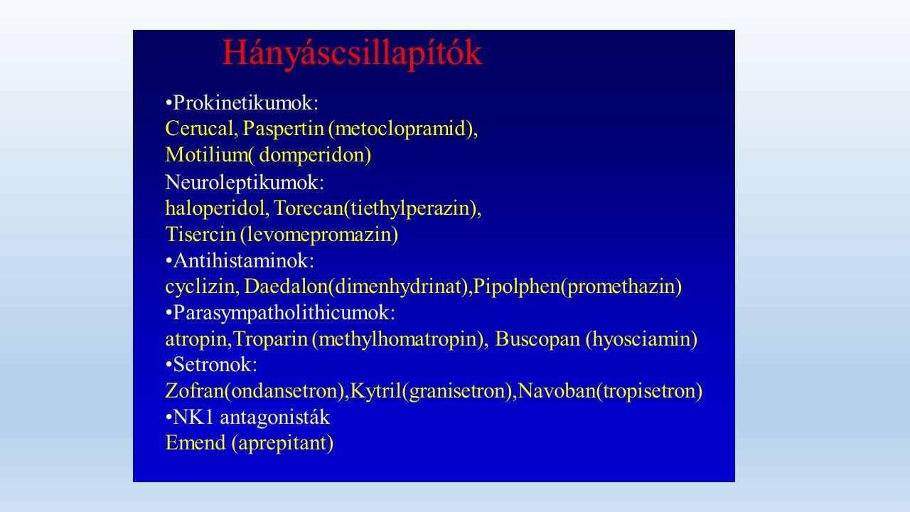 Hányáscsillapítók Prokinetikumok: Cerucal, Paspertin (metoclopramid), Motilium( domperidon) Neuroleptikumok: haloperidol, Torecan(tiethylperazin), Tisercin (levomepromazin) Antihistaminok: cyclizin, Daedalon(dimenhydrinat),Pipolphen(promethazin) Parasympatholithicumok: atropin,Troparin (methylhomatropin), Buscopan (hyosciamin) Setronok: Zofran(ondansetron),Kytril(granisetron),Navoban(tropisetron) NK1 antagonisták Emend (aprepitant)