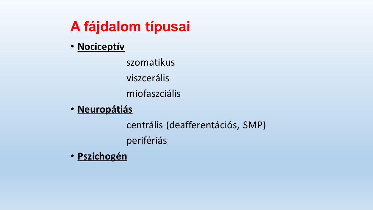A fájdalom típusai Nociceptív szomatikus viszcerális miofaszciális Neuropátiás centrális (deafferentációs, SMP) perifériás Pszichogén