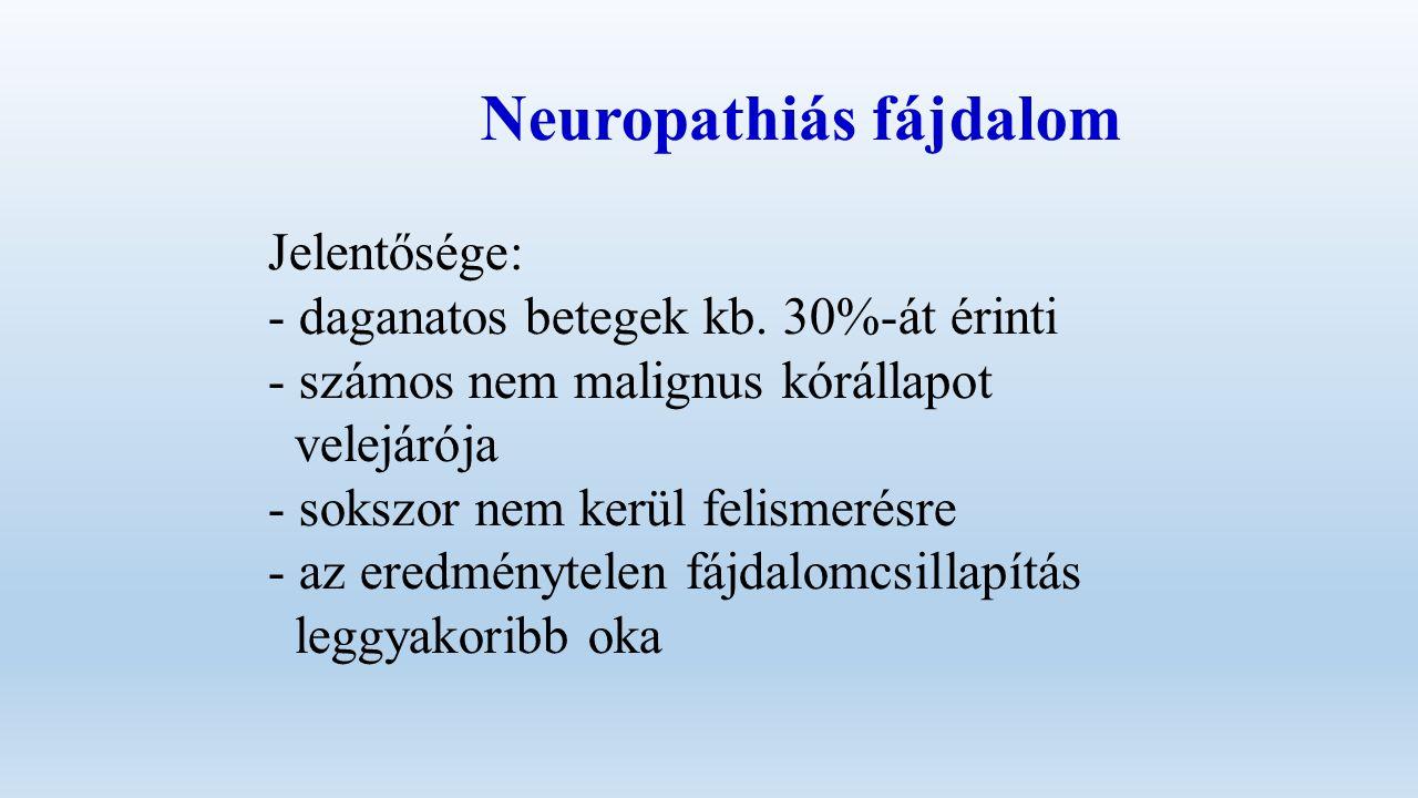 Neuropathiás fájdalom Jelentősége: - daganatos betegek kb.