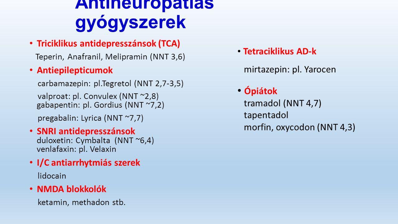 Antineuropátiás gyógyszerek Triciklikus antidepresszánsok (TCA) Teperin, Anafranil, Melipramin (NNT 3,6) Antiepilepticumok carbamazepin: pl.Tegretol (NNT 2,7-3,5) valproat: pl.