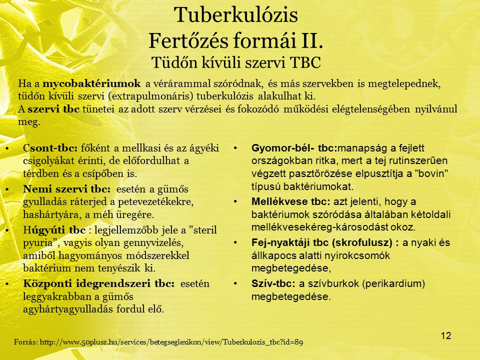 Tuberkulózis Fertőzés formái II. Tüdőn kívüli szervi TBC Csont-tbc: főként a mellkasi és az ágyéki csigolyákat érinti, de előfordulhat a térdben és a