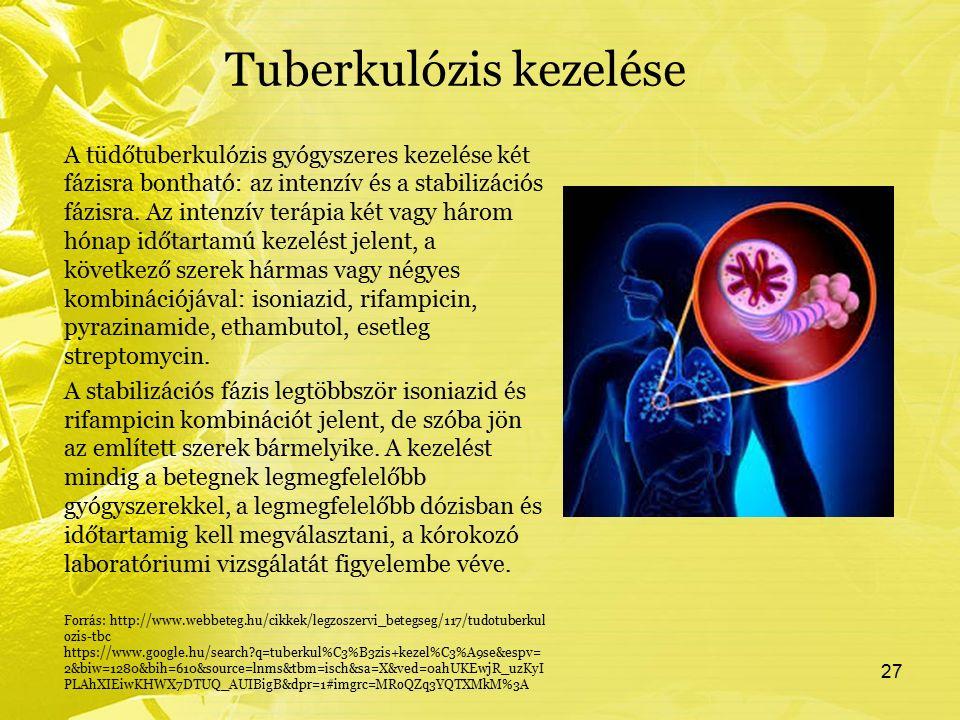 Tuberkulózis kezelése A tüdőtuberkulózis gyógyszeres kezelése két fázisra bontható: az intenzív és a stabilizációs fázisra. Az intenzív terápia két va