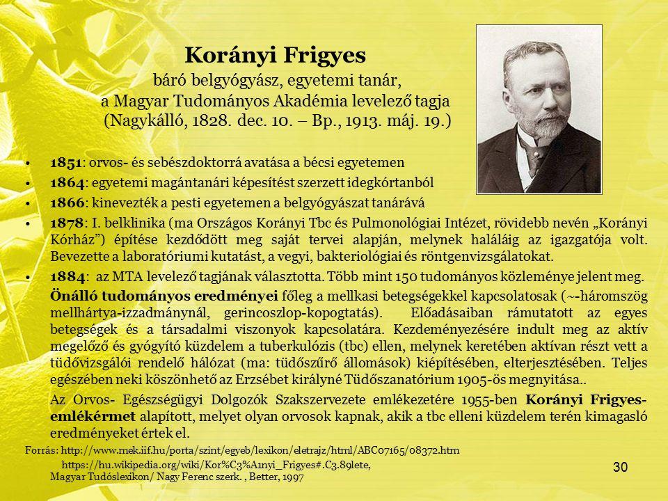 Korányi Frigyes báró belgyógyász, egyetemi tanár, a Magyar Tudományos Akadémia levelező tagja (Nagykálló, 1828. dec. 10. – Bp., 1913. máj. 19.) 1851: