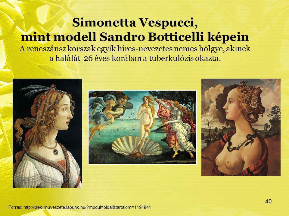 Simonetta Vespucci, mint modell Sandro Botticelli képein A reneszánsz korszak egyik híres-nevezetes nemes hölgye, akinek a halálát 26 éves korában a tuberkulózis okazta.