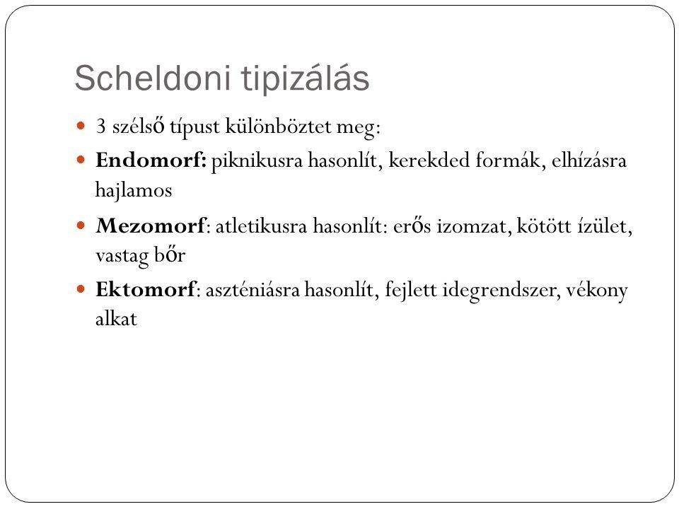 Scheldoni tipizálás 3 széls ő típust különböztet meg: Endomorf: piknikusra hasonlít, kerekded formák, elhízásra hajlamos Mezomorf: atletikusra hasonlít: er ő s izomzat, kötött ízület, vastag b ő r Ektomorf: aszténiásra hasonlít, fejlett idegrendszer, vékony alkat