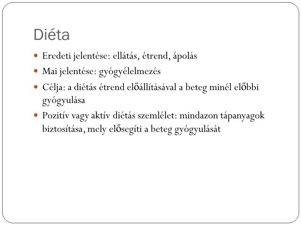 Diéta Eredeti jelentése: ellátás, étrend, ápolás Mai jelentése: gyógyélelmezés Célja: a diétás étrend el ő állításával a beteg minél el ő bbi gyógyulása Pozitív vagy aktív diétás szemlélet: mindazon tápanyagok biztosítása, mely el ő segíti a beteg gyógyulását