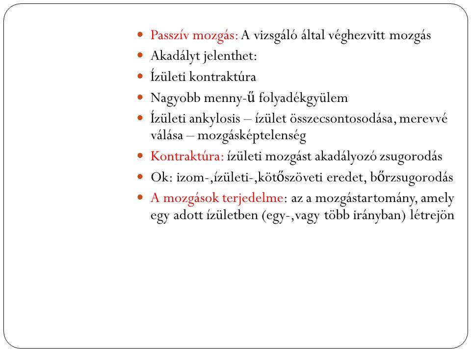 Passzív mozgás: A vizsgáló által véghezvitt mozgás Akadályt jelenthet: Ízületi kontraktúra Nagyobb menny- ű folyadékgyülem Ízületi ankylosis – ízület összecsontosodása, merevvé válása – mozgásképtelenség Kontraktúra: ízületi mozgást akadályozó zsugorodás Ok: izom-,ízületi-,köt ő szöveti eredet, b ő rzsugorodás A mozgások terjedelme: az a mozgástartomány, amely egy adott ízületben (egy-,vagy több irányban) létrejön