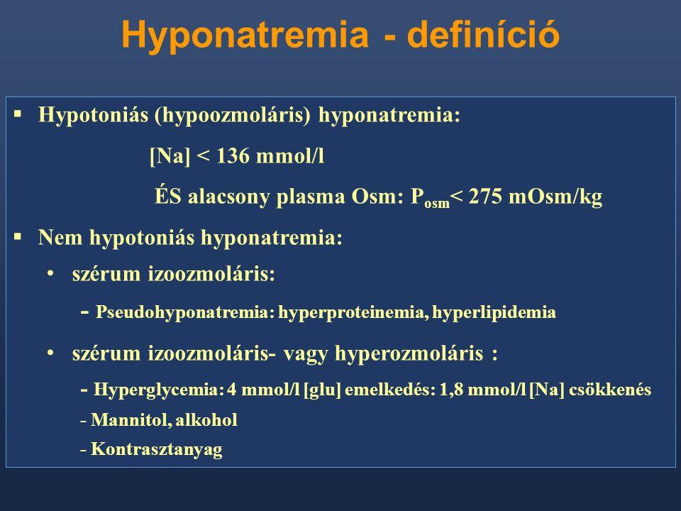 Hyponatremia - definíció  Hypotoniás (hypoozmoláris) hyponatremia: [Na] < 136 mmol/l ÉS alacsony plasma Osm: P osm < 275 mOsm/kg  Nem hypotoniás hyp
