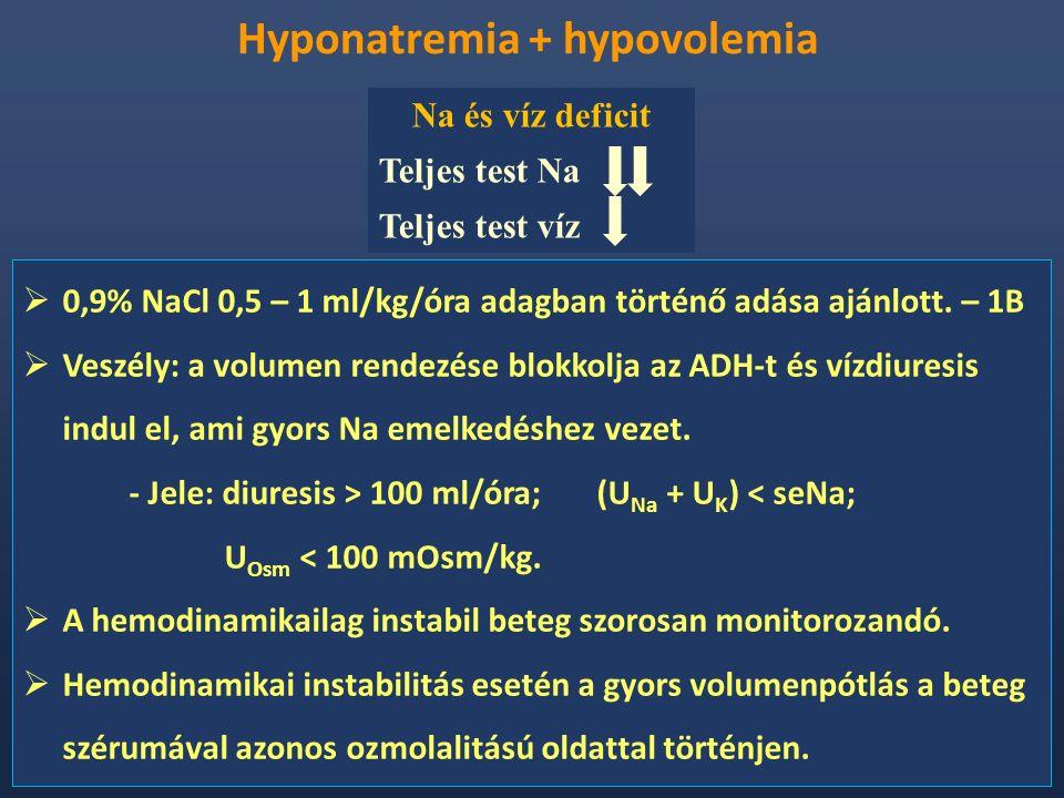 Hyponatremia + hypovolemia  0,9% NaCl 0,5 – 1 ml/kg/óra adagban történő adása ajánlott. – 1B  Veszély: a volumen rendezése blokkolja az ADH-t és víz